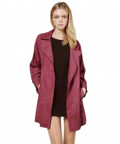 Women's Casual Suede Open Front Cardigan Trench Coat Jacket with Pockets