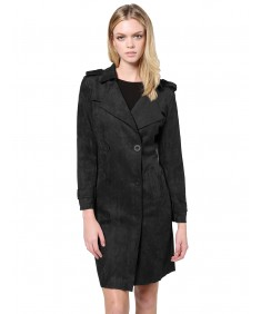 Women's Classic Suede Double Breasted Trench Coat Jacket with Pockets
