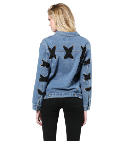 Women's Trendy Eyelet Lace Up Long Sleeve Denim Jacket