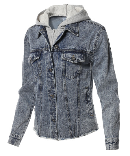 Women's  Button Down Denim Jean Jacket with Drawstring Hood