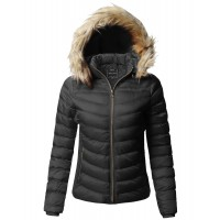 Women's Quilted Puffer Jacket with Detachable Faux Fur Hood