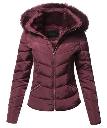 Women's Casual Solid Slim Fit Detachable Hoodie Puffer Jacket