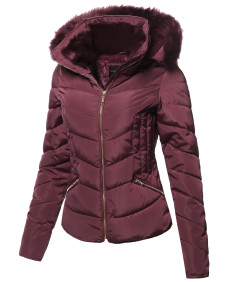 Women's Casual Solid Slim Fit Detachable Hoodie Puffer Jacket
