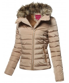 Women's Quilted Puffer Jacket with Detachable Faux Fur