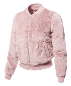 Women's  Long Sleeves Faux Fur Bomber Jacket with Pockets