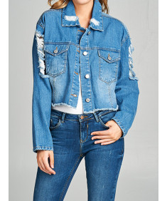 Women's Casual Sexy Ripped Distressed Long Sleeve Cropped Denim Jacket
