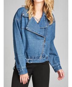 Women's Casual Notched Lapel Asymmetric Zip Moto Oversize Denim Jacket