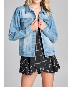Women's Casual Classic Basic Chest Two pockets Denim Jacket