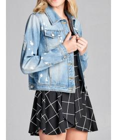 Women's Casual Distressed Bleach Spot Chest Two pockets Denim Jacket