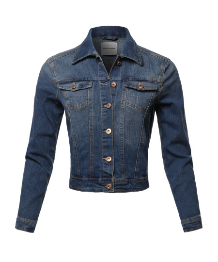 Women's Casual Classic Rose Gold Button Chest Two pockets Denim Jacket
