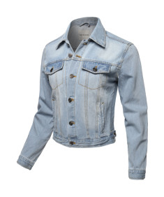 Women's Casual Classic Chest and Side Two pockets Denim Jacket