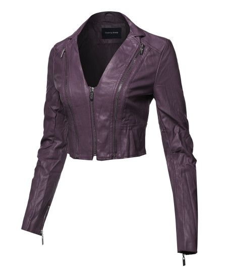 Women's Casual Stylish Trendy Zipper Cropped Leather Motorcycle Jacket