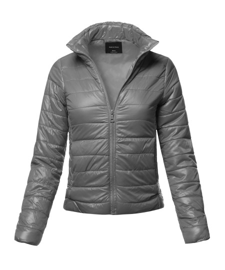 Women's Casual Basic Solid Comfortable Light Weight Quilted Padding Jacket