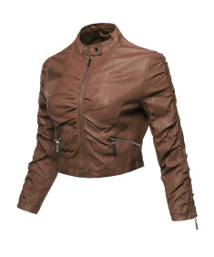 Women's Casual Stylish Trendy Bomber Cropped Leather Motorcycle Jacket