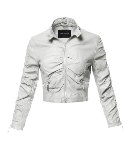 Women's Casual Stylish Trendy Bomber Cropped Leather Motorcycle Jacket