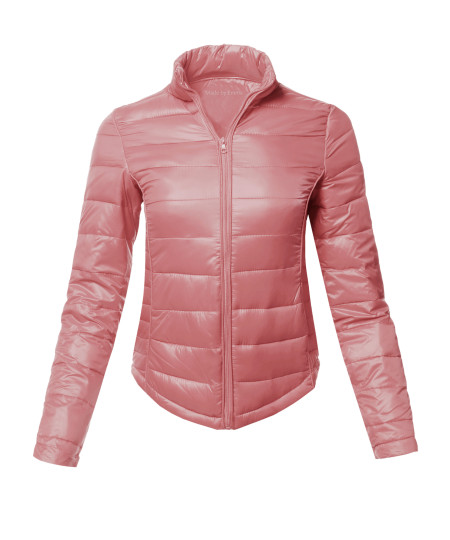 Women's Casual Basic Solid Comfortable Light Weight Poly Fill Pad Jacket