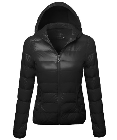 Women's Casual Basic Solid Comfortable Light Weight Poly Fill Hood Jacket