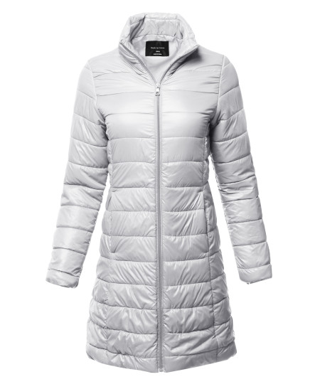 Women's Casual Solid Comfortable Light Weight Long Quilted Padding Jacket