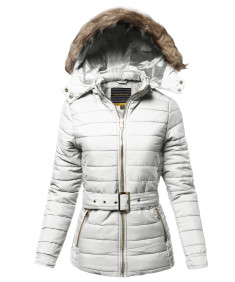 Women's Casual Fashionable Detachable Fur Trim Hoodie Belted Puffer Jacket