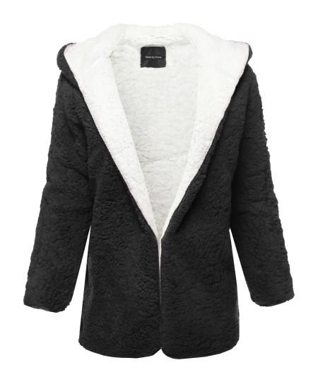 Women's Casual Oversized Hooded  Faux Fluffy Reversible Cardigan Jacket Coat Outwear