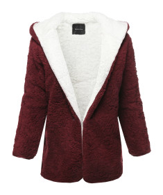 Women's Casual Oversized Hooded  Faux Fluffy Reversible Cardigan Jacket Coat Outwear