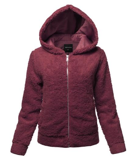 Women's Casual Fashionable Hooded  Faux Soft Fluffy Cardigan Jacket Coat Outwear
