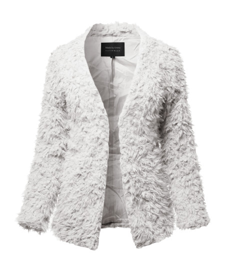 Women's Casual Warm Soft Fluffy Faux Fur Winter Jacket Coat Outwear