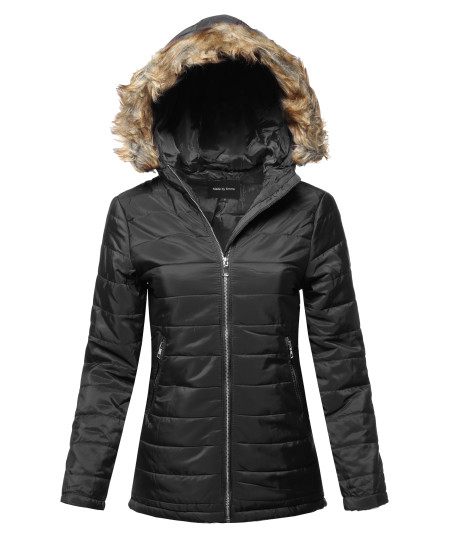 Women's Casual Long Sleeve Quilted Padding Jacket with Detachable Faux Fur Hoodie