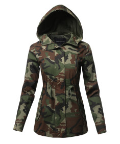 Women's Light weight Safari Hoodie Military Jacket Coat