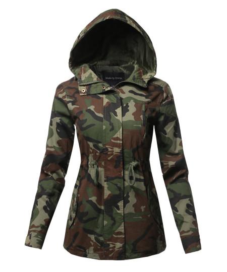 Women's Light weight Safari Hoodie Military Jacket Coat
