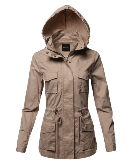 Women's Anorak Utility Safari Hoodie Cotton Jacket