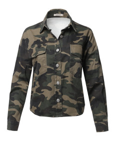 Women's Casual Front Pocket Military Crop Camouflage Shirt Jacket