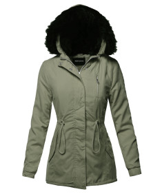Women's Casual Long Sleeve Hooded War Winter Faux Fur Lined Parka Outdoor Jacket