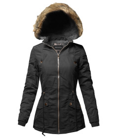 Women's Hooded Warm Long Coats Faux Fur Fleece Lined Parka Outdoor Jackets