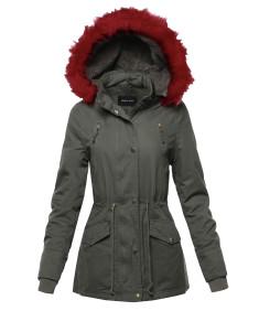 Women's Hooded Warm Long Coats Faux Fur Fleece Lined Parka Outdoor Jackets