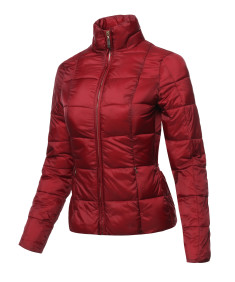 Women's Casual Solid Comfortable Light Weight Long Sleeve Quilted Padding Parka Jacket