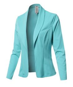 Women's Solid Long sleeve Open Front Office Blazer Jacket