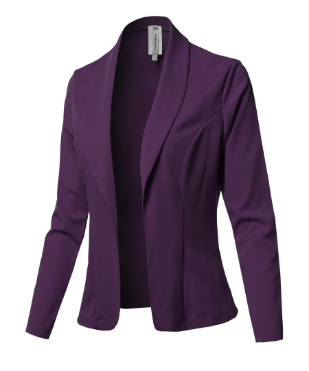 Women's Solid Long sleeve Open Front Office Blazer Jacket