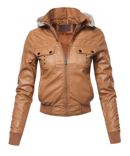 Women's Casual Fur lining Faux Leather Bomber Jacket