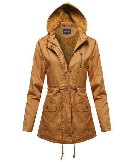 Women's Military Button & Zipper Hooded Parka Anorak Jacket w/ Faux Fur