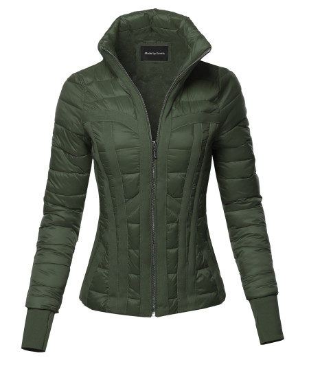 Women's Fitted Casual Solid Detachable Hoodie Puffer Jacket