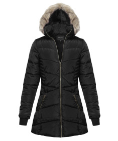Women's Fitted Solid Sherpa Hooded Long Jacket