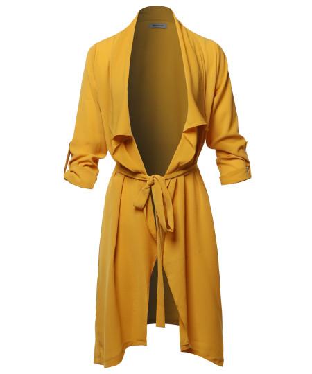 Women's Spring Lightweight Roll-up 3/4 Sleeve Waist Belt Woven Jacket