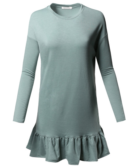 Women's Solid Basic Trendy Long Sleeve Frilly French Terry Dress