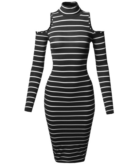 Women's Casual Striped Long Sleeve Mock Neck Cut Off Shoulder Midi Dress