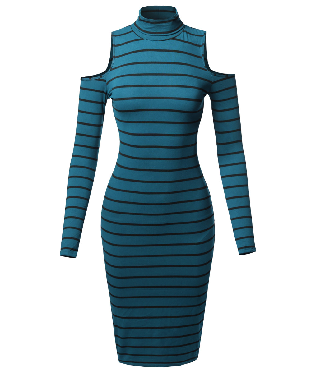 cd953c801654d Women's Casual Striped Long Sleeve Mock Neck Cut Off Shoulder Midi Dress