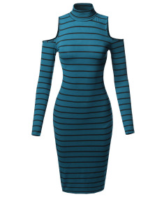 Women's Casual Striped Long Sleeve Mock Neck Cut Off Shoulder Midi Dress