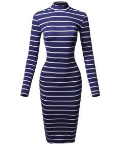 Women's Casual Striped Long Sleeve Mock Neck Midi Dress