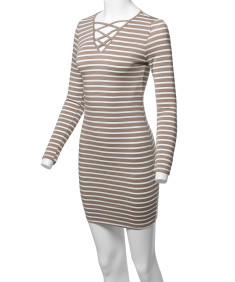 Women's Lattice-Front Stripe Long Sleeves Dress