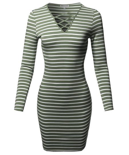 Women's Lattice-Front Stripe Long Sleeves Dress